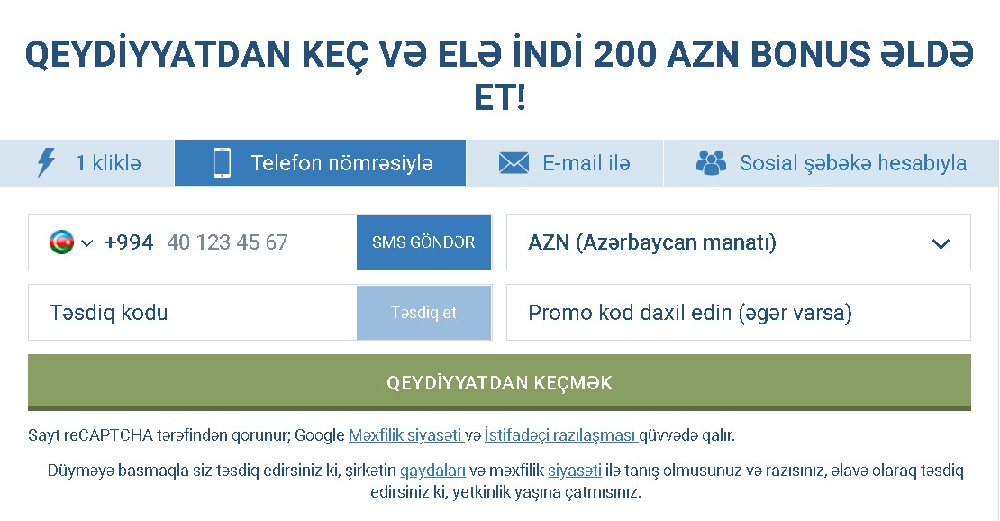 1xBet register by phone
